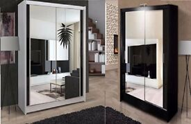 = CHEAPEST PRICE EVER !!! NEW BERLIN FULL MIRROR SLIDING DOOR WARDROBE - 4 COLOURS -