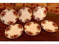 ROYAL ALBERT OLD COUNTRY ROSES SET OF 6 TEA PLATES