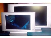 """Job Lot of 2 Philips Silver 17""""and 26"""" Flat Screen TVs,Stands,Remote Controls and Power Cords."""