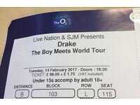 Drake Tickets For Sale. 14th Feb 2017 - London, The 02