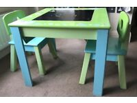 Children's wooden table and chairs - £30