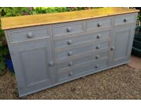 Stunning French Gray 8 Drawer Dresser/Sideboard Shelved Cupboards
