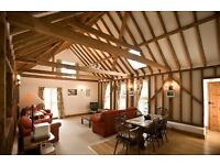 4 Star converted barn, 3 beds 2 baths beamed throughout & vaulted ceiling in living/dining area.