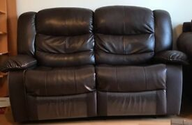 Brown leather fully reclining sofa very comfy living room delivery may be possible today only