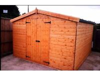 10x10' NEW HEAVY DUTY APEX DOUBLE DOOR GARDEN STORAGE SHED TIMBER FITTED FREE