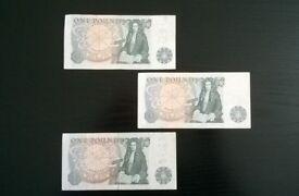 three old ' pound notes