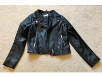 H&M girls biker leather look jacket