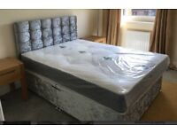 Brand new double bed, headboard and mattress
