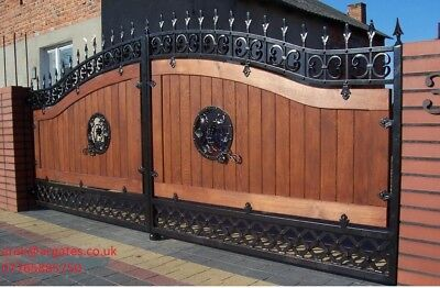 WROUGHT IRON HAND MADE DRIVEWAY DOUBLE SWING GATE  MADE TO MEASURE