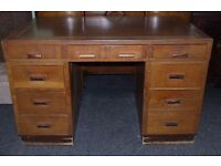 Vintage oak desk with leather inlay top