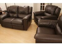 Nicoletti Italian Dark Brown Leather Reclining Suite 2 & 2 Sofa / Two Armchairs