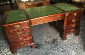 Green leather inlaid pedestal desk...Chesterfield