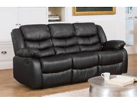 Brand New MINT CONDITION Deluxe Luxury Black Leather 3 Piece Sofa With Twin Reclining Chairs
