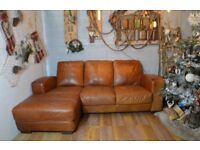 01 Chesterfield Vintage Distressed Leather Corner Sofa Couch Tan