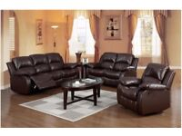 SALE Brand New Reclining leather Sofa, Armchair, Couches Set brown 3+2+1