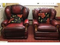 Full suite Maroon Leather sofas in immaculate condition