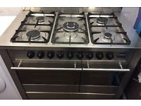 Diplomat stainless steel 5 burners 100 cm wide dual fuel gas cooker new model twin oven