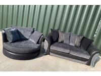 DFS large 2 seater sofa + swivel / spinning cuddle chair Set £450 Delivered Today