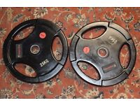 x2 25kg Insportline Tri Grip Rubber Weight Plates 25 Kilo Gym Training Weights Olympic 50mm / 2""