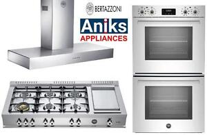 "Bertazzoni CB486G00X 48"" Pro-Gas Rangetop 6 Sealed brass Burners, 30"" Double Wall Oven & 48"" Hood $9999  (416) 901 7557"