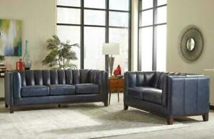 IN STOCK -GENUINE LEATHER -Couch and Loveseat  40% off online WHOLESALE - Was $4,999. NOW $3,000