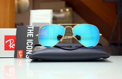 New Ray Ban Aviator RB3025 112/17 58mm  Gold Frame Blue  Mirror Unisex