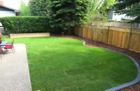 Sod installation,interlock flag stone,deck and fence