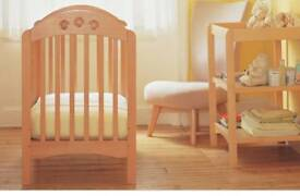 Mothercare Cot with playbeads, matching change table and mattress