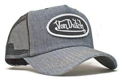 (Authentic Brand New Von Dutch Raw Herringbone Denim Cap Hat Mesh Snapback)