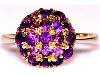 DAZZLING 9CT GOLD ART DECO STYLE AMETHYST BALL RING WORK OF ART MADE IN ENGLAND FULLY HALLMARKED J4U
