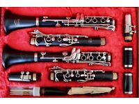 Pair of clarinets and double case. B&H Edgware 'A' and Bel Canto de Peyer 'Bb'. Hard case.