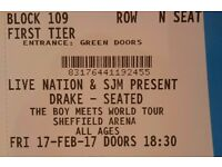 3 seated tickets for Drake at Sheffield Arena 17 Feb 2017 £88.50 each