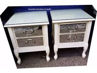 A pair of lovely bedside cabinets with mirror fronts and glass tops sold as a pair for £100 the pr!