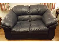 2 seat blue leather sofa