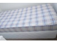 Single divan bed. Price includes immaculate mattress. As new condition.
