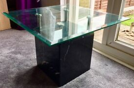 Solid marble and glass coffee table