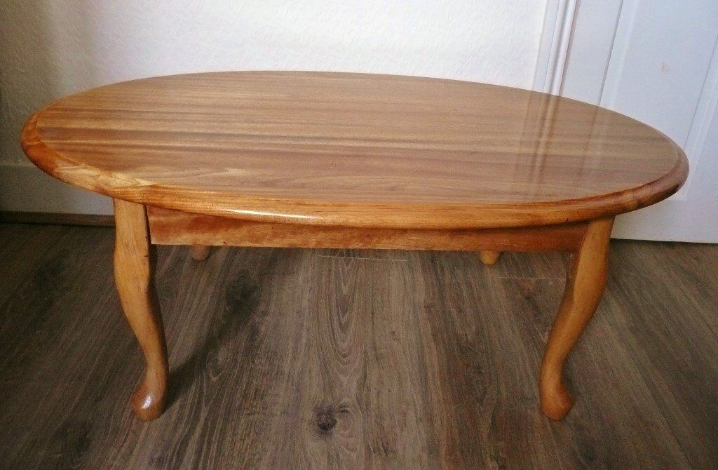 Solid Wood Wooden Oval Coffee Table Living Room Furniture