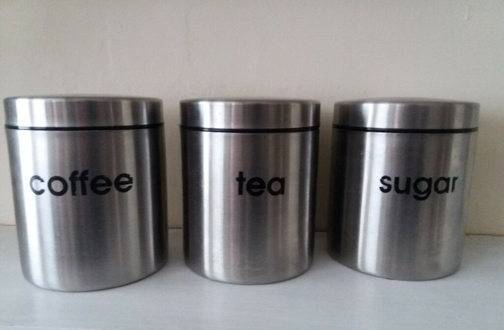 Housewares Tea Coffee And Sugar Canisters Set Of 3 Silver