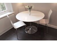 Dwell Round Dining Table in white gloss with chrome base with 3 chairs