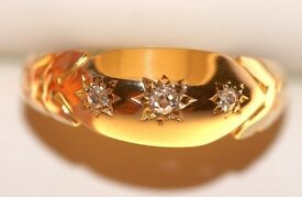 STUNNING 18CT GOLD MEN'S RETRO STYLE DIAMOND RING SIZE L.50 FULLY HALLMARKS MADE ENG WORK OF ART J4U