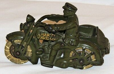 Vintage HUBLEY HARLEY DAVIDSON w/ SIDE CAR Army Green Color Cast Iron Motorcycle