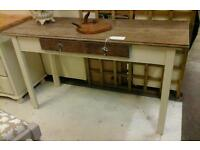 Ornate oak shabby chic console table