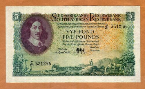 South Africa, 5 Pounds, 16-4-1952, P-97a, XF > 65 years old