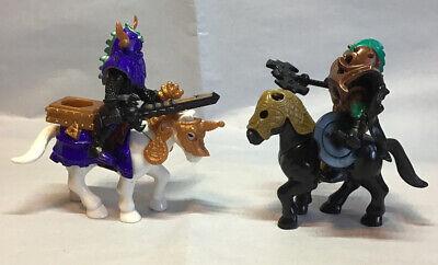2 IMAGINEXT BATTLE CASTLE KNIGHTS w/ SHIELDS WEAPONS ARMOR HORSES FIGURES