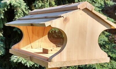 Large Cedar Bird Feeder Handmade Wood Birdfeeder Extra High Capacity Seed