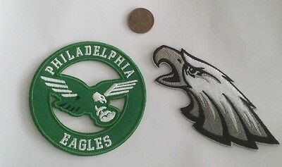 (2)-Philadelphia Eagles vintage embroidered iron  on logo patches   NIce!