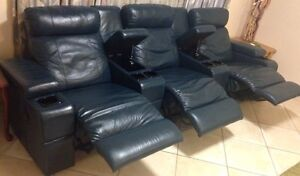 Beautiful real leather with 3 recliner lounge suite : sofa set Stirling Stirling Area Preview