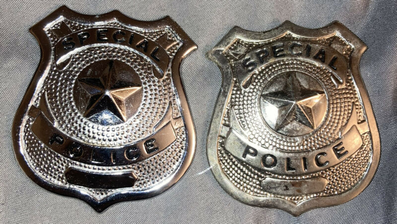"""Lot Of 2 Special Police Officer Embossed Star Badge Pin  2.5"""""""