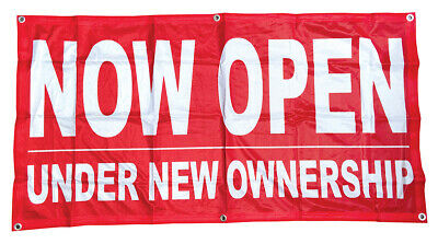 Now Open Under New Ownership Banner Sign Vinyl Alternative 2x4 Ft Fabric Rb