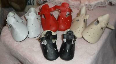 White T-strap Doll Shoes - DOLL SHOES 3 3/4